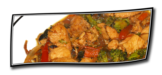 Pollo al jengibre con verduras, casi al WOK.