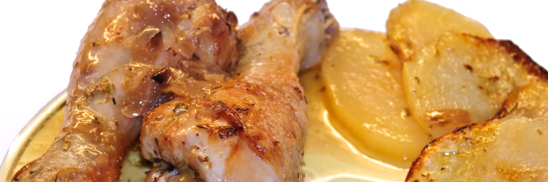 Muslos de pollo al horno.